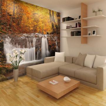 Fototapet - Autumn landscape : waterfall in forest