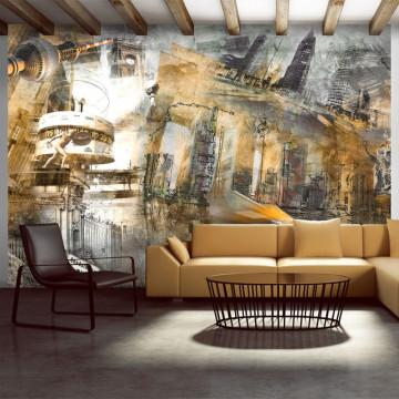 Fototapet - Berlin - collage (orange)