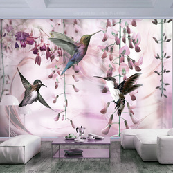 Fototapet - Flying Hummingbirds (Pink)