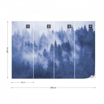 Fototapet - Pădure de Brazi în Ceață – Albastru
