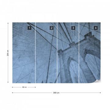 Fototapet - Podul Brooklyn – Efect Grafic Albastru