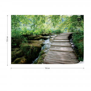 Green Forest Waterfall Pathway Photo Wallpaper Wall Mural