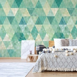 Green Modern Geometric Pattern Photo Wallpaper Wall Mural