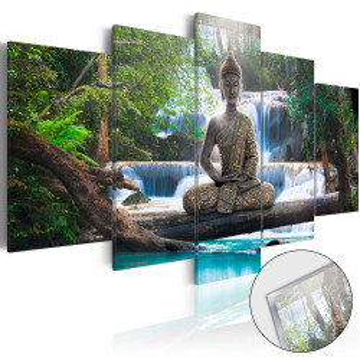 Imagine pe sticlă acrilică - Buddha and Waterfall [Glass]