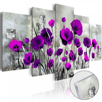 Imagine pe sticlă acrilică - Meadow: Purple Poppies [Glass]