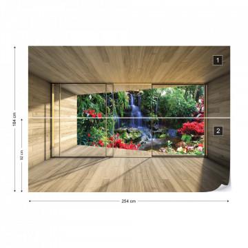 Jungle Waterfall 3D Modern Window View Photo Wallpaper Wall Mural