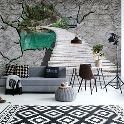 Lake Path Hole In Concrete Wall 3D Illusion Photo Wallpaper Wall Mural