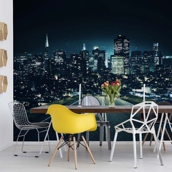 Late Night City Skyline Photo Wallpaper Wall Mural