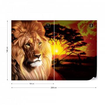 Lion Sunset Africa Animals Photo Wallpaper Wall Mural