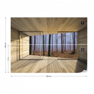 Misty Forest 3D Modern Window View Photo Wallpaper Wall Mural
