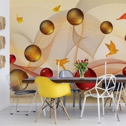 Modern 3D Abstract Design Yellow Red Photo Wallpaper Wall Mural