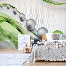 Modern Abstract 3D Design Silver And Green Photo Wallpaper Wall Mural