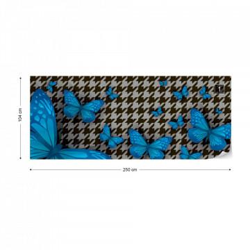 Modern Blue Butterflies Design Photo Wallpaper Wall Mural