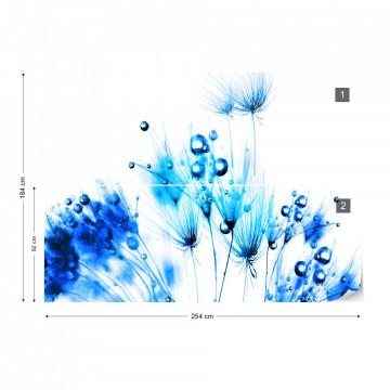 Modern Dandelion Blue And White Photo Wallpaper Wall Mural