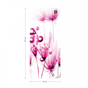 Modern Dandelion Pink And White Photo Wallpaper Wall Mural