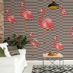 Modern Flamingo Pattern Photo Wallpaper Wall Mural
