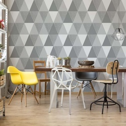 Modern Geometric Grey Triangle Pattern Photo Wallpaper Wall Mural