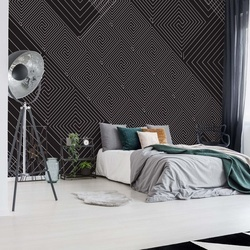 Modern Geometric Pattern Black And Grey Photo Wallpaper Wall Mural