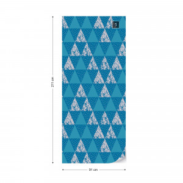 Modern Geometric Triangle Pattern Blue Photo Wallpaper Wall Mural