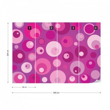 Modern Pink Cirlces Pattern Photo Wallpaper Wall Mural