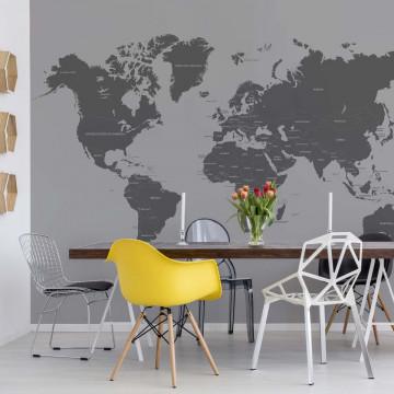 Modern World Map Monochrome