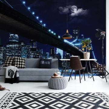 New York Brooklyn Bridge At Night Photo Wallpaper Wall Mural