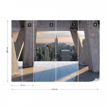 New York City Skyline 3D Modern View Concrete Photo Wallpaper Wall Mural
