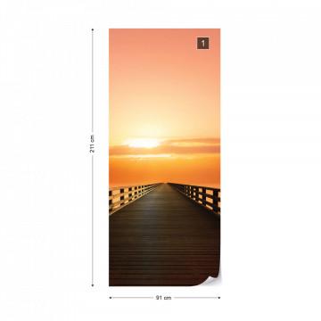 Ocean Pier Sunset Photo Wallpaper Wall Mural