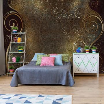 Ornamental Swirl Design Gold Photo Wallpaper Wall Mural