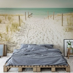 Pastel Colours Sandy Beach Photo Wallpaper Wall Mural