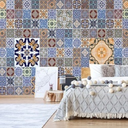 Pattern Vintage Tiles Blue Photo Wallpaper Wall Mural