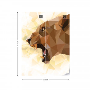 Polygon Lioness Light Colours Photo Wallpaper Wall Mural