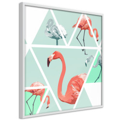 Poster - Tropical Mosaic with Flamingos (Square)