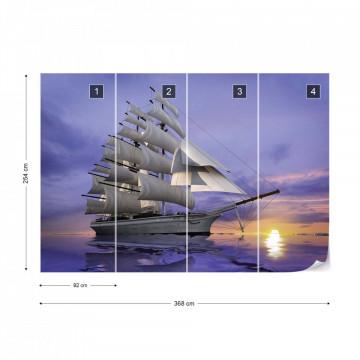Sailing Ship Sunset Photo Wallpaper Wall Mural