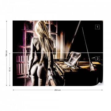 Sexy Nude Woman Piano Photo Wallpaper Wall Mural