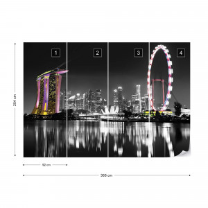 Singapore City Sykline At Night Photo Wallpaper Wall Mural