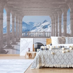 Snowy Mountains 3D View Through Columns Photo Wallpaper Wall Mural