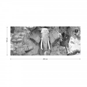 Stone Elephant Black And White Photo Wallpaper Wall Mural
