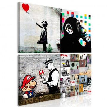 Tablou - Banksy Collage (4 Parts)