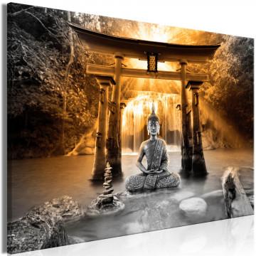 Tablou - Buddha Smile (1 Part) Wide Orange