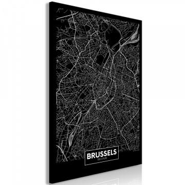 Tablou - Dark Map of Brussels (1 Part) Vertical