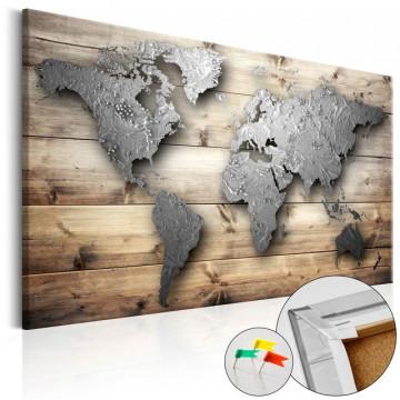 Tablou din plută - Silver World [Cork Map]