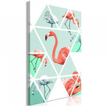 Tablou - Geometric Flamingos (1 Part) Vertical