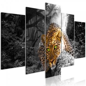 Tablou - Leopard Lying (5 Parts) Wide Grey