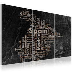 Tablou - Map of Spain on the blackboard - triptich