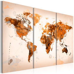 Tablou - Map of the World - Desert storm - triptych