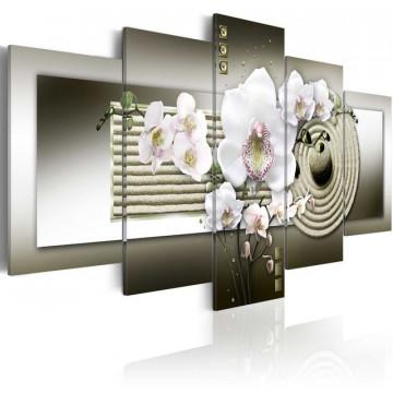 Tablou - Orchid and zen garden in grey