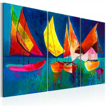 Tablou pictat manual - Colourful sailboats
