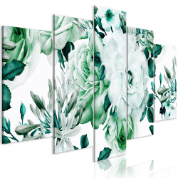 Tablou - Rose Composition (5 Parts) Wide Green
