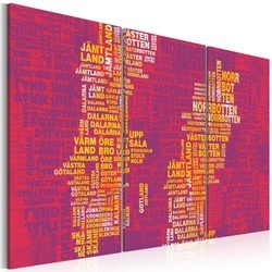 Tablou - Text map of Sweden (pink background) - triptych